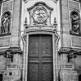 San Miguel Portal Madrid Spain BW by Joan Carroll