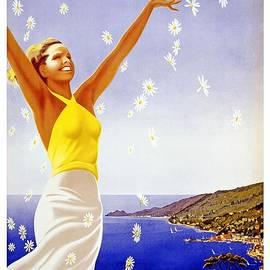 Santa Margherita Ligure - Woman Throwing Daisies In The Air  - Retro travel Poster - Vintage Poster - Studio Grafiikka