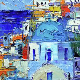 Mona Edulesco - SANTORINI BLUE CUPOLAS - Mini Cityscape 10 - palette knife oil painting