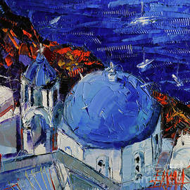 Mona Edulesco - SANTORINI BLUE DOMED CHURCH - Mini Cityscape #06