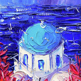 Mona Edulesco - SANTORINI CHURCH CUPOLA - mini cityscape 11 - palette knife oil painting