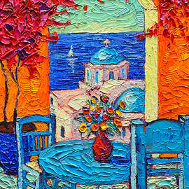 Ana Maria Edulescu - Santorini Dream Greece Contemporary Impressionist Palette Knife Oil Painting By Ana Maria Edulescu