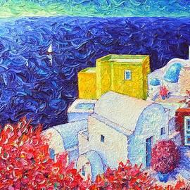 Ana Maria Edulescu - SANTORINI OIA COLORS modern impressionist impasto palette knife oil painting by ANA MARIA EDULESCU