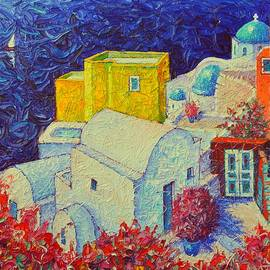 Ana Maria Edulescu - SANTORINI OIA IN BLOOM Greece impressionist impasto palette knife oil painting by Ana Maria Edulescu