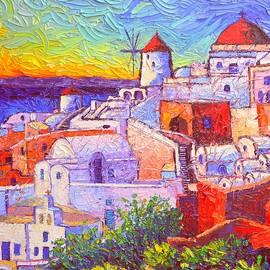 SANTORINI OIA LIGHT modern impressionist impasto palette knife oil painting by Ana Maria Edulescu by Ana Maria Edulescu