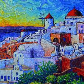 SANTORINI OIA modern impressionist cityscape impasto palette knife oil painting Ana Maria Edulescu by Ana Maria Edulescu