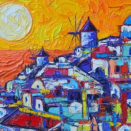 Ana Maria Edulescu - SANTORINI OIA SUNSET 7 abstract cityscape impasto palette knife oil painting by Ana Maria Edulescu