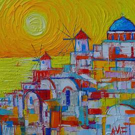 Ana Maria Edulescu - SANTORINI OIA SUNSET Greece abstract city modern impressionist knife oil painting Ana Maria Edulescu