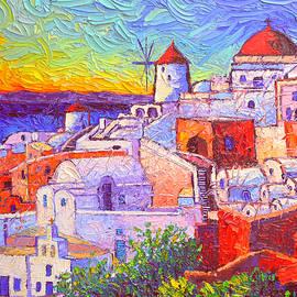 SANTORINI OIA SUNSET LIGHT modern impressionism impasto palete knife oil painting Ana Maria Edulescu by Ana Maria Edulescu