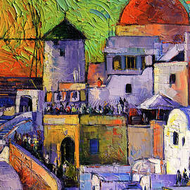 Mona Edulesco - SANTORINI Oia Village Impressionist Palette Knives Oil Painting