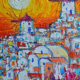 Ana Maria Edulescu - SANTORINI OIA WINDMILLS SUNSET abstract impressionist impasto knife oil painting Ana Maria Edulescu