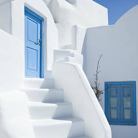 Santorini Steps Blue by Justin Foulkes
