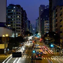Sao Paulo, Brazil - Avenida Sao Joao At Dusk by Carlos Alkmin