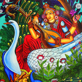 Arun Sivaprasad - Saraswati The Goddess of Art Mural Painting
