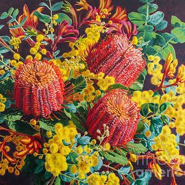 Fiona Craig - Scarlet Banksias and Wattle
