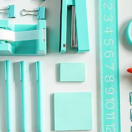 School Supplies In Blue by Teri Virbickis