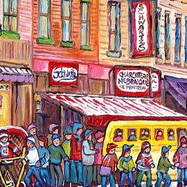 Schwartz's Smoked Meat Deli On The Main Montreal Hockey Art Scenes School Bus Painting C Spandau Art by Carole Spandau