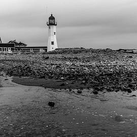 Scituate Lighthouse And Beach In Black And White by Brian MacLean