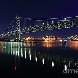 Scottish Steel in Silver and Gold lights across the Firth of Forth at Night by Maria Gaellman