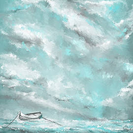 Sea Spirit - Lighter Version - Teal And Gray Art  by Lourry Legarde