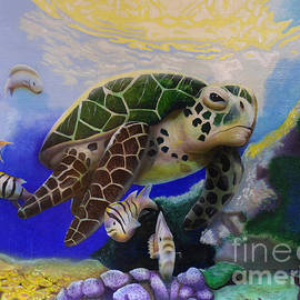 Sea Turtle Acrylic Painting by Thomas J Herring