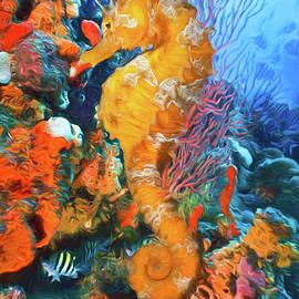 Debra and Dave Vanderlaan - Seahorse at a Magical Reef Oil Painting