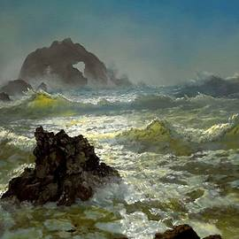 Seal Rock - California After The Style Manner And Painting By Albert Bierstadt  by Gert J Rheeders