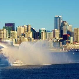 Seattle Sky Line-fire Boat by Phyllis Spoor