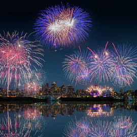 Seattle Skyline And Fireworks With Reflections by William Freebilly photography