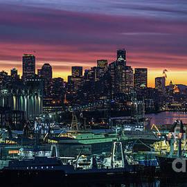 Seattle Skyline Imminent Sunrise - Mike Reid