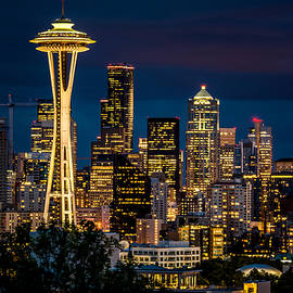 Seattle Space Needle After Dark by Claudia Abbott