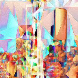 Wingsdomain Art and Photography - Seattle Space Needle in Abstract Cubism 20170327