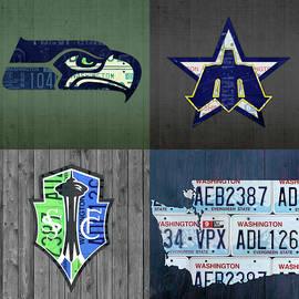 Design Turnpike - Seattle Sports Team License Plate Art Washington Map Seahawks Mariners Sounders