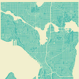 SEATTLE STREET MAP 2 - Jazzberry Blue
