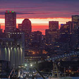 Seattle Sunrise Fiery Winter Skies Panorama - Mike Reid