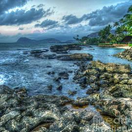 Reid Callaway - Rocks Along The Coast Secret Beach Sunset Aulani  Disney Resort and Spa Hawaii Collection Art