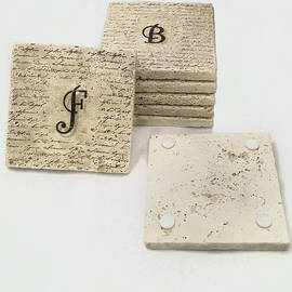 Set Of 6 Monogram Tile Coasters With Script by Angela Rath