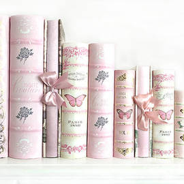 Shabby Chic Pink Books Collection - Paris Pink Books Art Prints Home Decor - Kathy Fornal