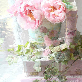 Shabby Chic Pink Peonies Impressionistic Romantic Dreamy Cottage Peonies On Pink Books by Kathy Fornal