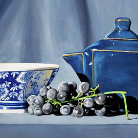 Lillian Bell - Shades of blue teapot and grapes