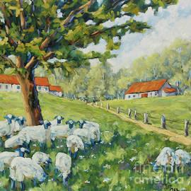 Richard T Pranke - Sheep Huddled under the tree Farm Scene