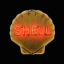Shell Oil Neon on Black by Don Columbus