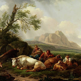 artists of 18 - th century - SHEPHERD with cows