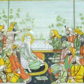 Ravi Sharma - Sher a Punjab Sikh Maharaja Ranjit Singh Court Scene Miniature Painting Of India Watercolor Artwork