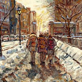 Sherbrooke Street Winter Scene Painting Mcgill Roddick Gates Canadian Art For Sale C Spandau Artist by Carole Spandau