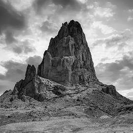 Gregory Ballos - Shiprock Monolith Sunset - Monument Valley - American Southwest BW