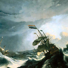 Ships In Distress In A Heavy Storm Circa 1690 by Ludolf Bakhuizen