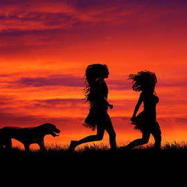 Maggie McCall - Silhouette of two girls and dog