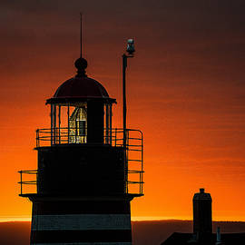 Silhouetted West Quoddy Head Lighthouse by Marty Saccone