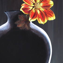 Lillian Bell - Single Flower in Black Vase